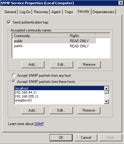 SNMP Service Properties