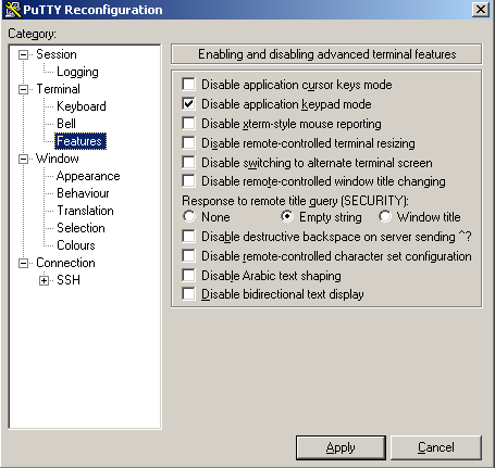 PuTTY Disable App Keypad