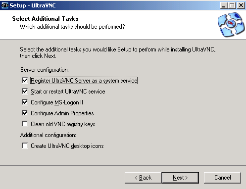 UltraVNC Select Additional Tasks